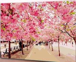 數字油畫 - 櫻花飛舞
