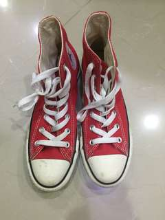 🚚 Converse 高筒帆布鞋 紅 24