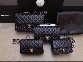 Chanel Classic Flap Satchel Chain Bag Black