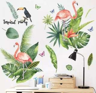 居家雜貨紅鶴熱帶風情壁貼牆貼裝飾