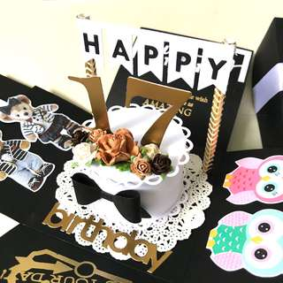 🚚 Happy 17 Birthday Explosion Box Card in bear and owl