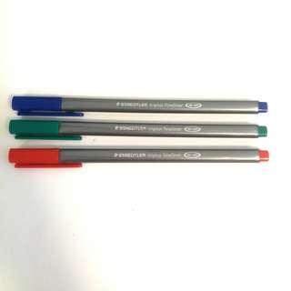 ($9 all) Staedtler Triplus Fineliner (Red Blue Green)