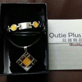 🚚 Qutie Plus幾何黃金套組316頂級白鋼鍊身24K金箔 造型簡約大方低調奢華 中性款式男女佩帶都好看