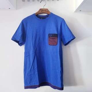 夏季 藍色Fred Perry Pocket T-shirt