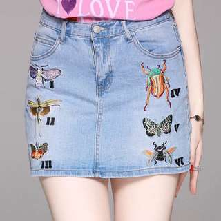Embroidered denim cotton one step skirt