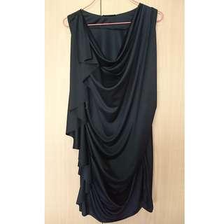 Black Ruffle Drap Dress