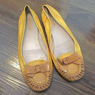 Authentic Yellow Patent Prada Flats