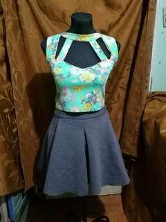 Neoprene skater skirt and floral crop top bundle