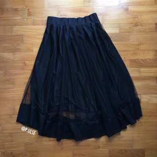 PENDING mesh midi lace skirt black