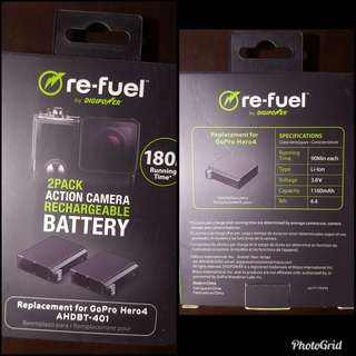 Re-fuel 2 Pieces Rechargeable Battery  for Go Pro Hero 4