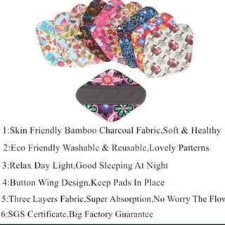 Eco friendly Reusable panty liner/ pad Bamboo charcoal waterproof menstrual pad cloth