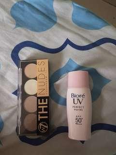 W7 THE NUDES & biore sunscreen