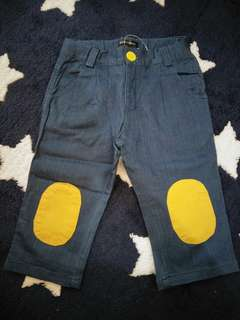 🚚 Le petite society Denim pants with yellow knee patch