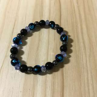 Natural stone bead bracelet - blue