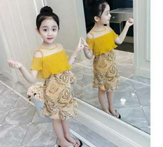 Yellow Off shoulder Girls Dress Kids
