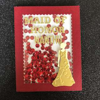 Maid of honor shaker card
