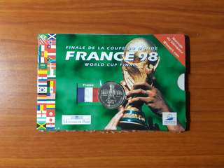 1998 World Cup Final France Silver Coin 5 Francs face value