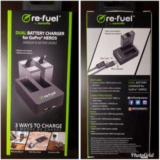 Re-fuel Dual Battery Charger for Go Pro Hero 5