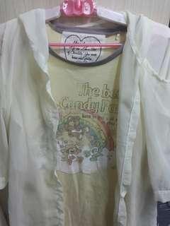 🚚 T恤加雪紡薄紗罩衫