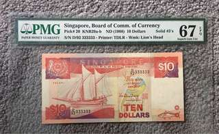 Solid 3s Singapore $10 Ship Series PMG 67