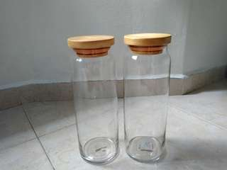 2 Spaghetti glass canisters