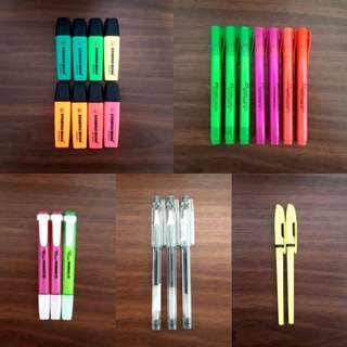 Stabilo highlighters and pens, Faber Castell highlighters, G-Tec pens