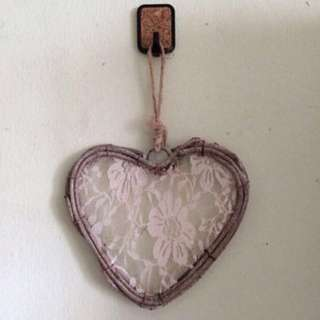 Lace & Wood Heart Wall Deco