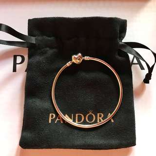 BNW Authentic Pandora Moments Silver Bangle Logo Heart Logo Clasp