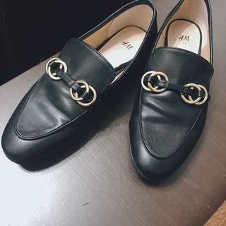 H&M Loafers (Black Leather)