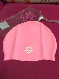 全新 Arena 粉紅色 泳帽 游水游泳專用