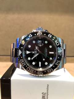 Authentic Rolex Oyster GMT Master II 116710LN Black Dial Automatic Steel Casing Bracelet