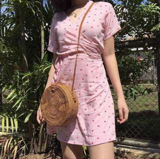 Pink Heart Wrap Dress