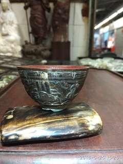 民初 锡胎包椰壳雕花上漆观赏杯