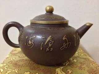 清中期,描金水平壺