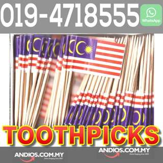 In-Stock✔Malaysia Flag Toothpicks_Pencungkil Gigi Bendera.Cafe Restoran Western Food