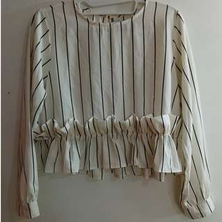 Cotton Ink Striped Ruffle Top