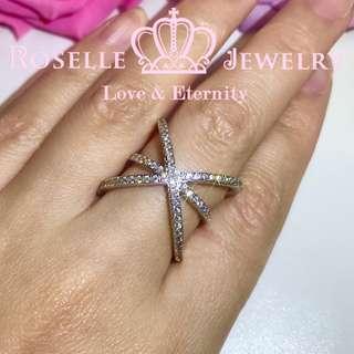 大交叉時尚結婚戒指-BA38(RZ人造鑽石仿鑽)
