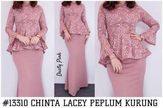 💃🏻 * CHINTA LACEY PEPLUM KURUNG*  AVAILABLE IN *TWO (2)* SIZES:  *S/M (free size)* and *L/XL (plus size)* **  • peplum top with hidden long zipper behind • flowy bell-sleeve • fully-lined  • fishtail peplum design - _slimming effect!_