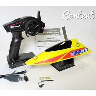 VOLANTEX V796-1 [Max Speed 25km/h] 2.4GHz 2-Channel Tumbler Auto-roll-back Mini Pool Racer Electric Boat, Yellow   Length: 26cm   Electric Boat. Code: V796-1-Y