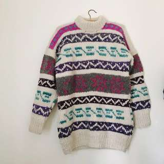 Wool hand knitted ugly sweater/jumper oversized patterned