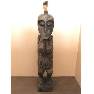 wooden statue hand carved hawaii Fiji Fertility Tribal figure