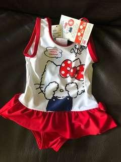 全新 未剪牌 Hello Kitty 嬰兒泳衣 80碼