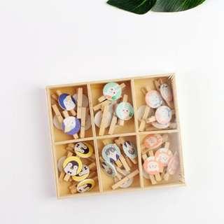 Wooden Clip Box Set Cuddly Animal