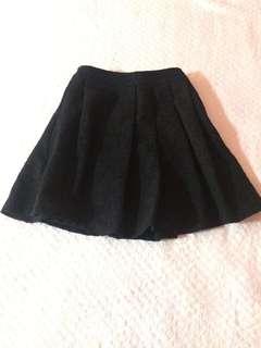 H&M Black Skater Skirt w/ Intricate Details