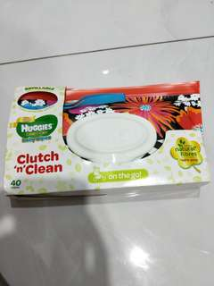 Brand new Huggies gentle care baby wipes with clutch and clean on the go