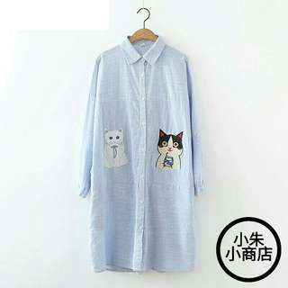 [PO] Blue Striped Cat Embroidered Spring Autumn New Style Women Shirt Dress Mori Girl Vestidos Femininos