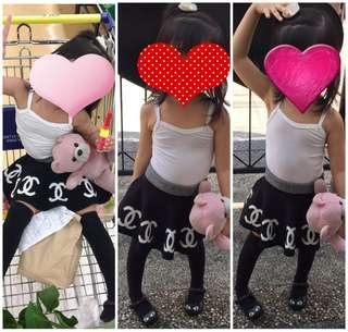 EUC kids highwaist black skirt lot of 2pcs chanel print 3T