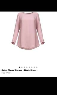 POPLOOK Adair Flared Blouse - Nude Blush