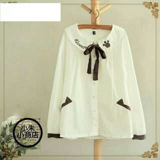 [PO] Spring Women Blouse Japanese style Mori Girl Cute Embroidered Bow Doll Collar Long Sleeve Sotton Shirts Female