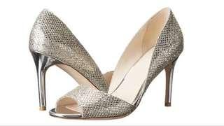 Cole Haan metallic open toe heels